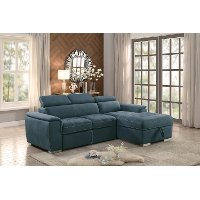 Blue Sectional Sofa with Pullout Sofa Bed and Right-Side Storage Chaise - Ferriday