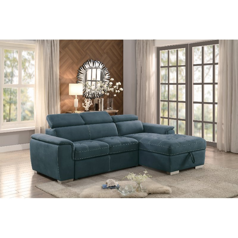 Blue Sectional Sofa With Pullout