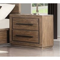 Modern Rustic Acacia Pine Nightstand - Haven