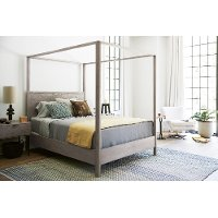 Modern Gray Queen Canopy Bed - Spaces