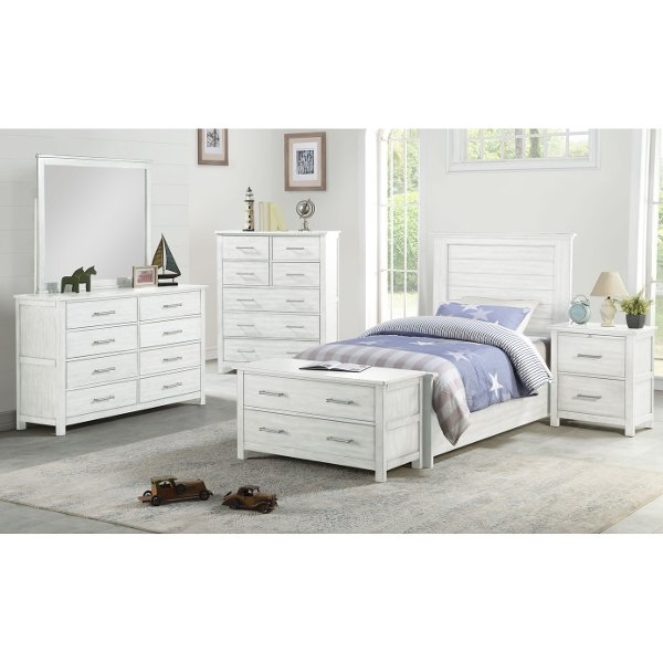 Contemporary White Twin Bedroom Set Decoration