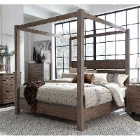 Modern Rustic Brown Queen Canopy Bed - Sonoma Road