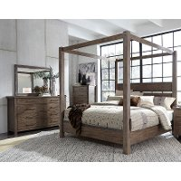 Modern Rustic Brown 4 Piece Queen Bedroom Set - Sonoma Road