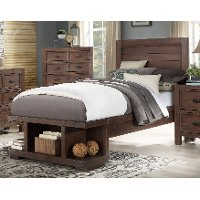 Contemporary Cherry Twin Platform Bed - Tremaine