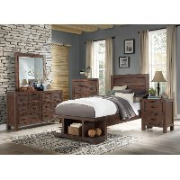 Contemporary Cherry 4 Piece Twin Bedroom Set - Tremaine