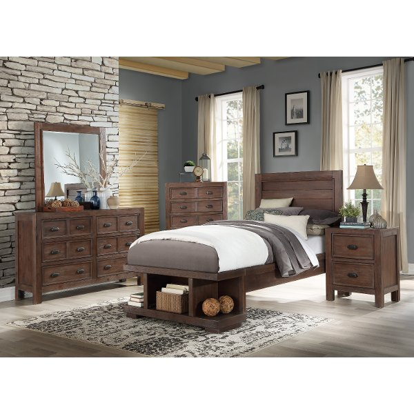 ... Contemporary Cherry 4 Piece Twin Bedroom Set   Tremaine