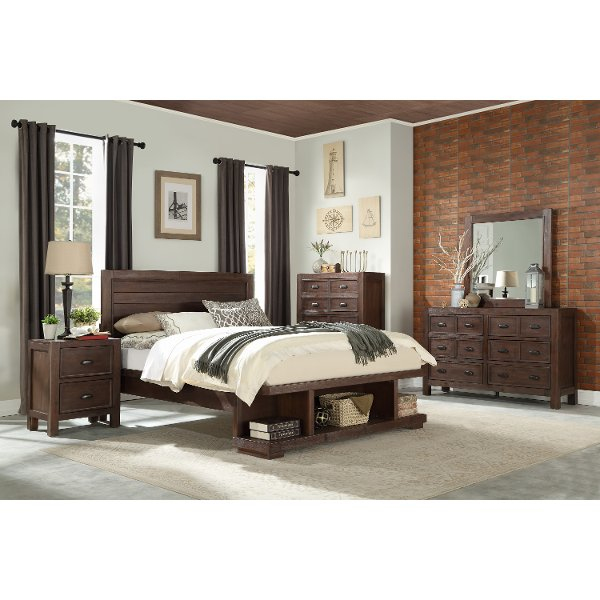 ... Contemporary Cherry 4 Piece Queen Bedroom Set   Tremaine