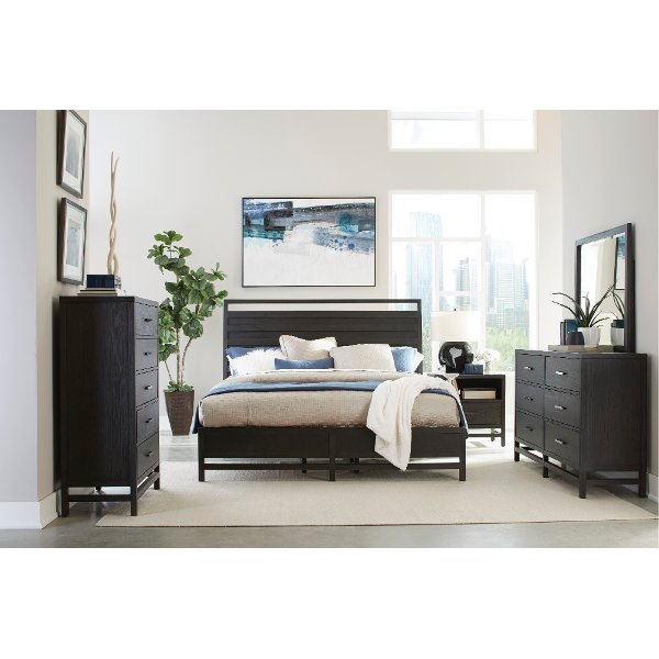 ... Modern Black 4 Piece Queen Bedroom Set   Thomas