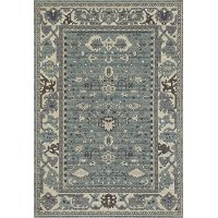 5 x 8 Medium Transitional Aqua Blue Rug - Maison