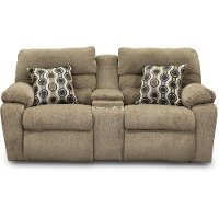 Stone Brown Power Reclining Loveseat with Console - Tribute