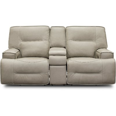 Dove Beige Leather-Match Power Reclining Loveseat with Console - Rockies