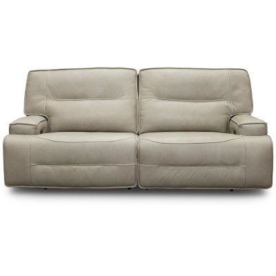 Hermes Dove Beige Leather-Match Power Reclining Sofa - Rockies