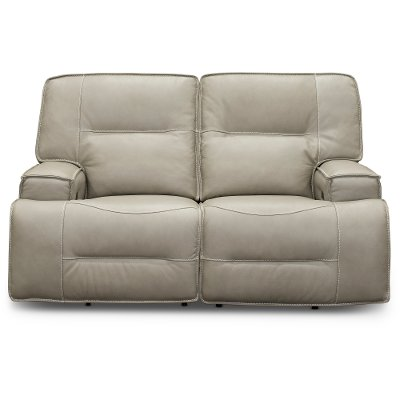 Dove Beige Leather-Match Power Reclining Loveseat - Rockies
