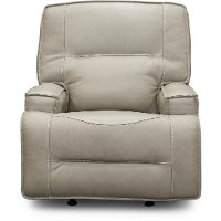 Hermes Dove Beige Leather-Match Power Glider Recliner - Rockies