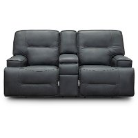 Luxe Sky Gray Leather-Match Power Reclining Loveseat with Console - Rockies