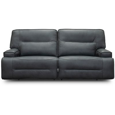 Luxe Sky Gray Leather-Match Power Reclining Sofa - Rockies