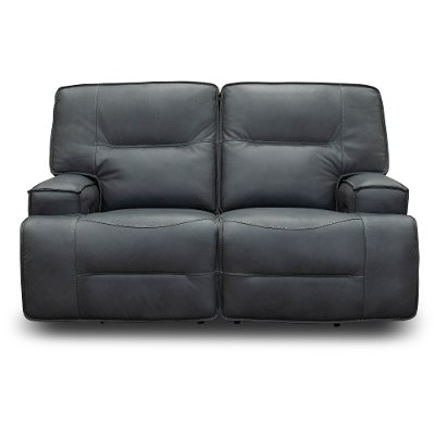 Luxe Sky Gray Leather-Match Power Reclining Loveseat - Rockies