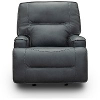 Luxe Sky Gray Leather-Match Power Glider Recliner - Rockies