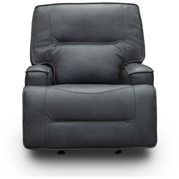 ... Luxe Sky Gray Leather Match Power Glider Recliner   Rockies