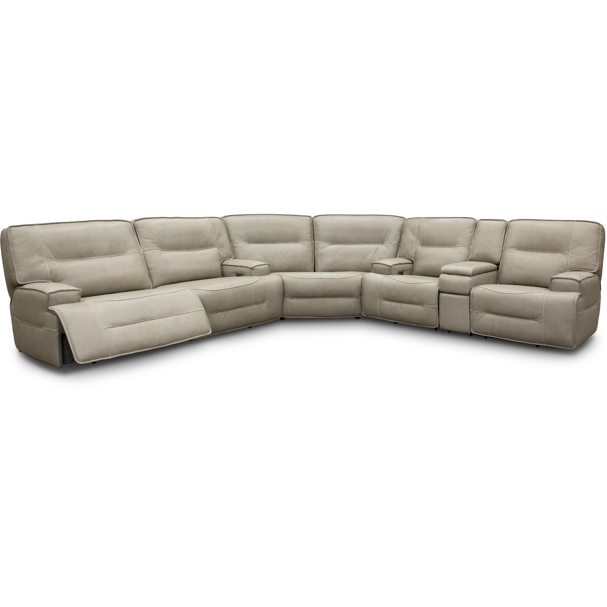Dove Tan Leather Match Power Reclining Sectional Sofa   Rockies ...
