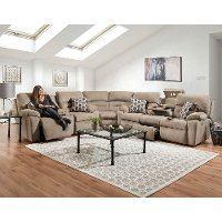 Stone Brown 3 Piece Power Reclining Sectional Sofa - Tribute
