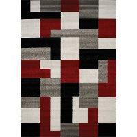 5 x 8 Medium Red, Black, and Gray Area Rug - Platinum