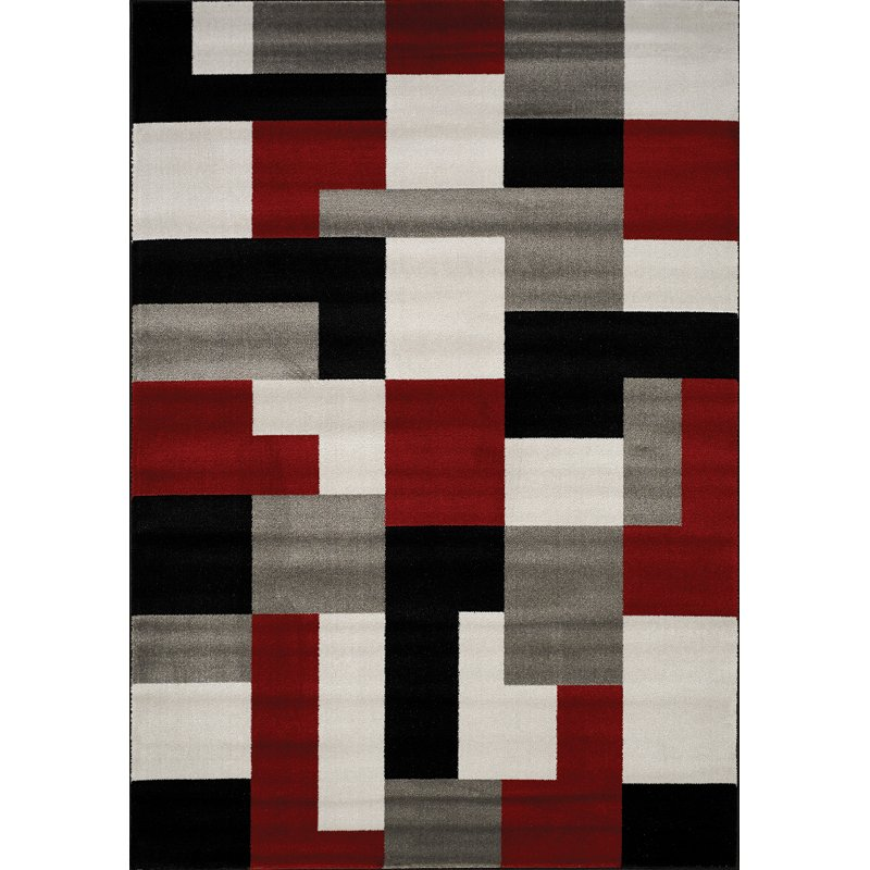 Medium Red Black And Gray Area Rug