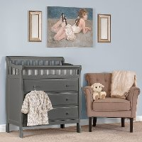 Classic Steel Gray Changing Table & Dresser - Marcus