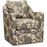 Ivory, Gray and Blue Wide Seat Swivel Accent Chair - Brianne