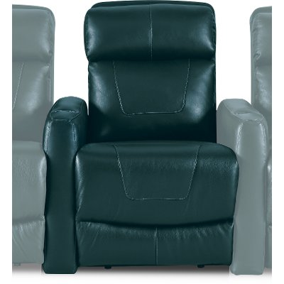 Peacock Dark Turquoise Blue Left-arm Facing Power Recliner with Brackets - Premier