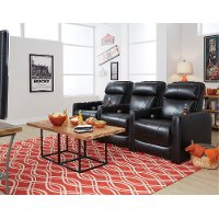 Black 3 Piece Power Reclining Theater Seating - Premier