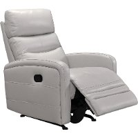Dove Gray Leather-Match Power Glider Recliner - Ripples