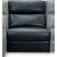 Navy Blue Leather-Match Armless Power Recliner with Adjustable Headrest - Angler