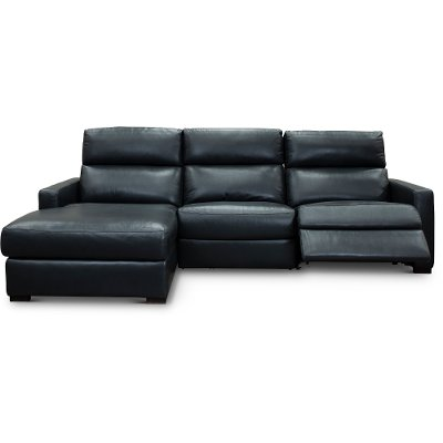 Blue Leather Match Power Reclining Sectional Sofa With Left Arm Facing  Chaise   Angler ...
