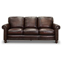 1703-7160-03L501M/SO Traditional Brown Leather Sofa - Hampton