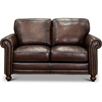 1703-7160-02L501M/LV Traditional Brown Leather Loveseat - Hampton