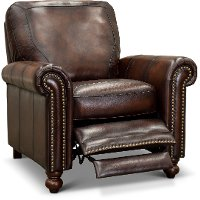1703-P7160-01L501M/C Traditional Brown Leather Recliner - Hampton