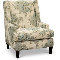 Traditional Blue and Cream Floral Accent Chair - Aram