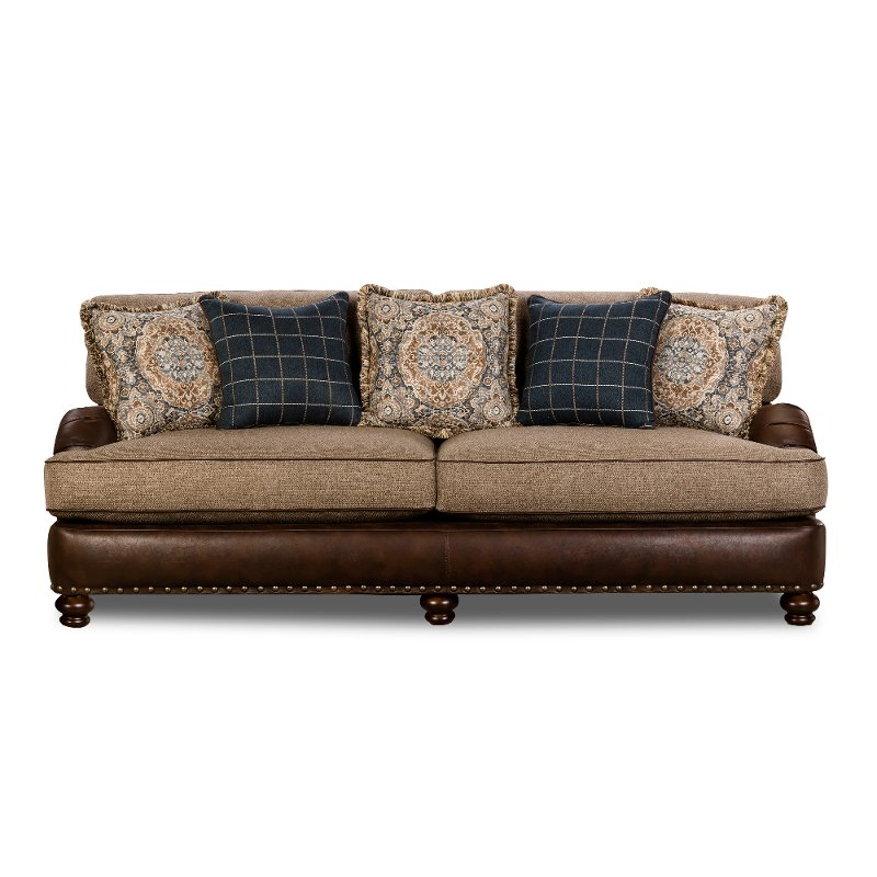 ... Traditional Two Tone Brown Sofa   Cognac