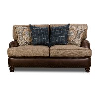 Traditional Two-Tone Brown Loveseat - Cognac