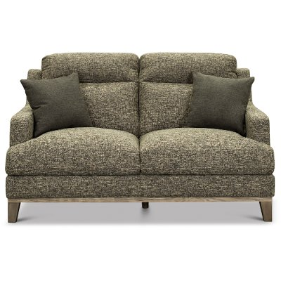 Contemporary Charcoal Gray and Cream Loveseat - Irvine