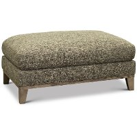 Contemporary Charcoal Gray and Cream Ottoman - Irvine