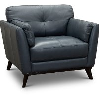 CC43-CA Modern Dark Blue Leather Chair - Warsaw
