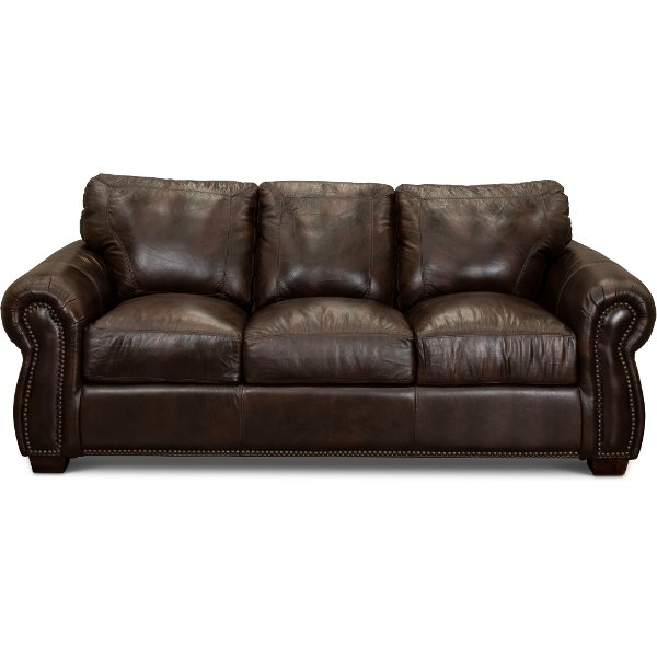 ... Traditional Brown Leather Sofa   Molasses