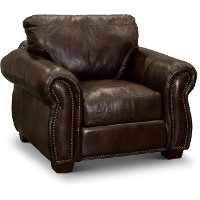 Traditional Brown Leather Chair - Molasses