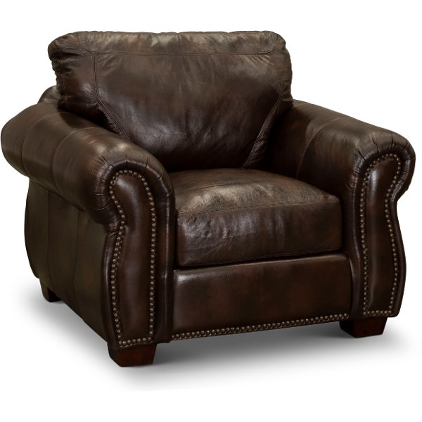 Gentil ... Traditional Brown Leather Chair   Molasses