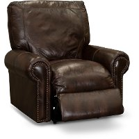 Traditional Brown Leather Power Recliner - Molasses