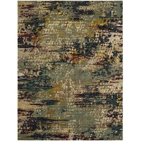 8 x 11 Large Multi-Colored Area Rug - Decollage