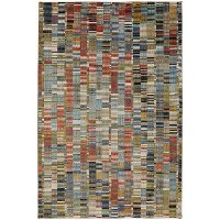 5 x 8 Medium Rust, Gray and Blue Rug - Metropolitan