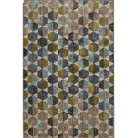 8 x 11 Large Contemporary Citrine, Gray, and Blue Rug - Metropolitan